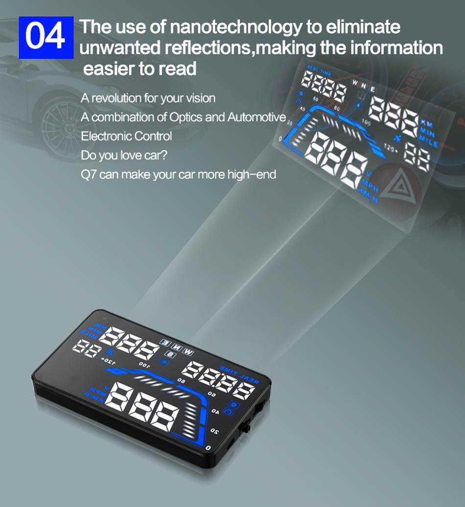 Universal Q7 5.5 Auto Car HUD GPS Head Up Display OBD II 2 Overspeed Warning Alarm Dashboard Windshield Project Speedometers-8