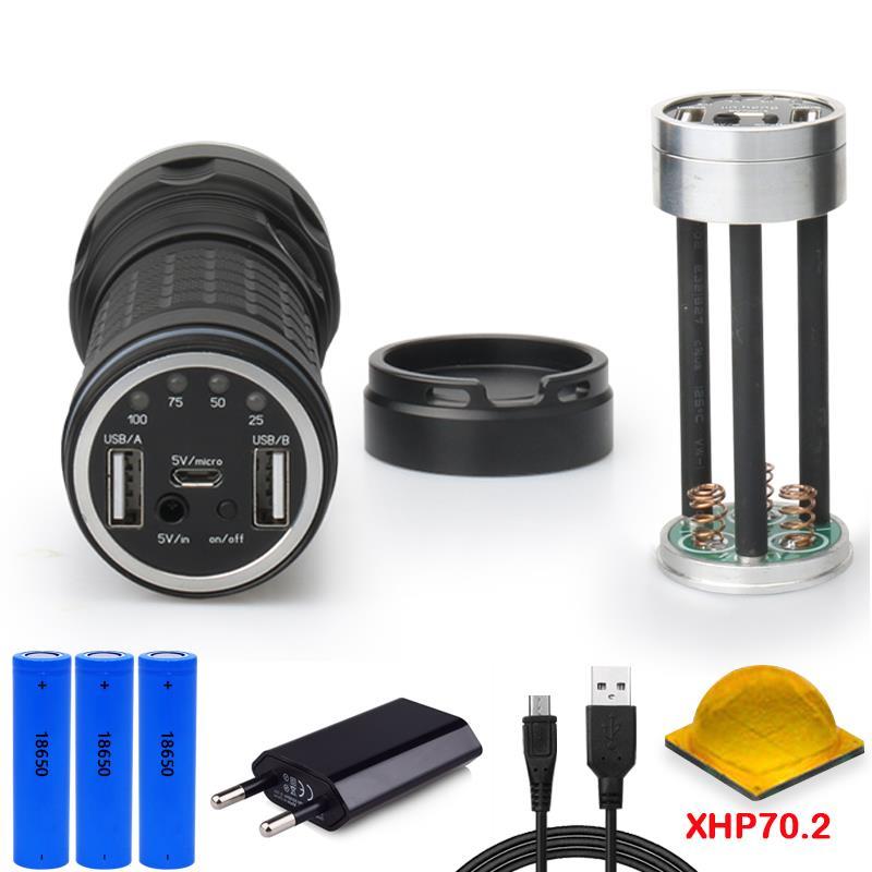 XHP70.2 power bank lampe torche long range hunting flashlight usb most powerful flashlight CREE XHP70.2 torch 18650 waterproof