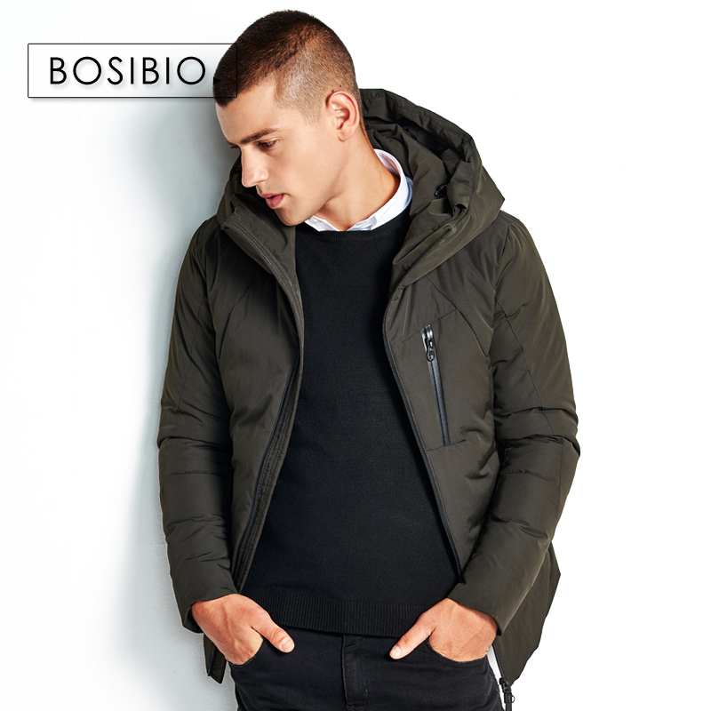 BOSIBIO 2017 Winter New Jacket Men Grey Warm Coat Fashion Casual Padded Thicken Parka Men Clothing Zipper Coat 89825-in Parkas from Men's Clothing    2