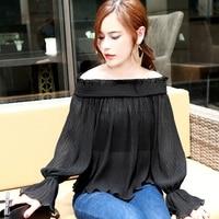Sexy Slash Neck Casual Loose Blouse Women Summer Fashion Flare Sleeve Chiffon Shirt Crop Top Black
