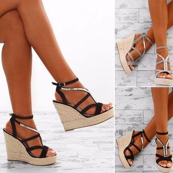 2019 Verano Correa Cuñas Punta Zapatos Gran Nueva Plataforma De Delantera Moda Mujer Hebilla Sandalias Trasera Abierta xoQCBeWrd