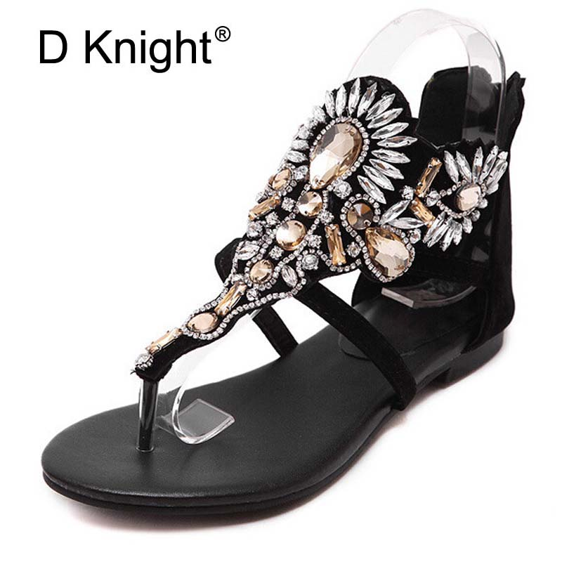 Crystal Gladiator Sandals Women Summer Flip Flops Casual Shoes Woman Slip On Flats Rhinestone Black Shoes Plus Size 35-40 E22 gladiator sandals 2017 summer style comfort flats casual creepers platform pu shoes woman casual beach black sandals plus us 8