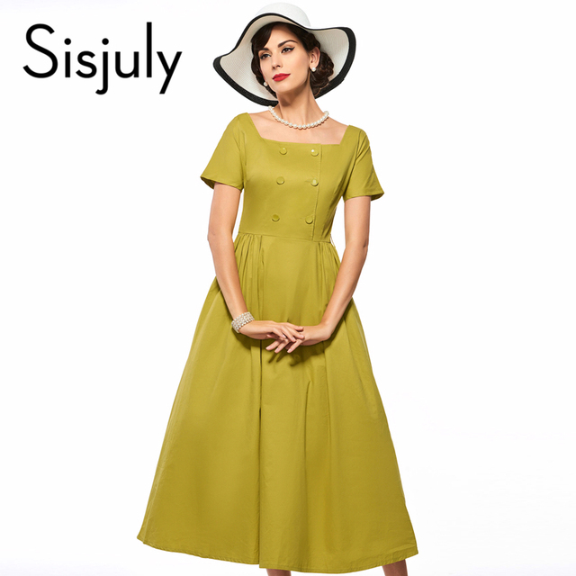 Sisjuly vintage dress line godden женщины party dress ретро 1950 s рокабилли pin up платья желтый грейс стиль винтаж платья