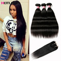 8A Peruvian Straight Virgin Hair With Closure Top Lace Closure With Bundles Straight Hair Peruvian 3 Bundles With Closure