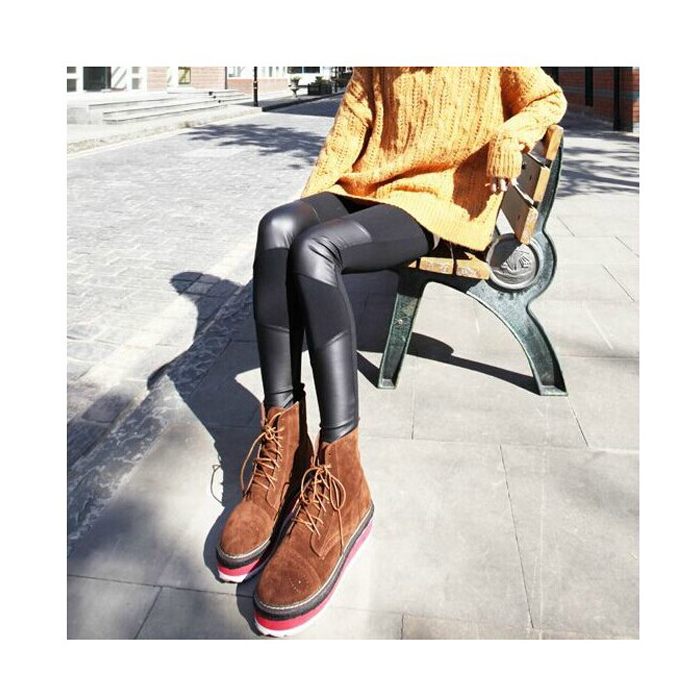 2019 New Women Brand   Leggings   patchwork new pant fitness casual gothic female black faux Pu Leather