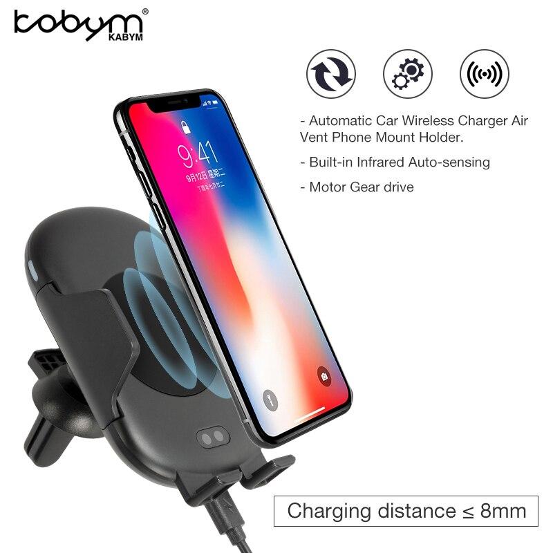Kabym Auto induktion infrarot Sensor Schnelle qi Auto Drahtlose Ladegerät Air Vent Halterung Cradle S7 S8 S9 für iPhone 8 X Typ c