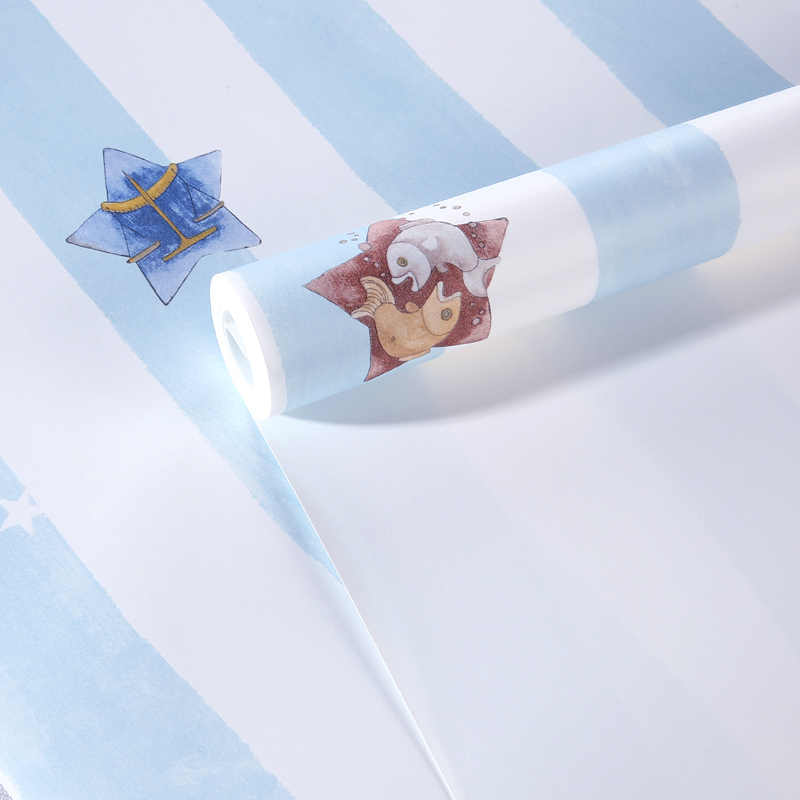 Купить с кэшбэком Children Room Wallpaper Blue Vertical Stripes Cartoon Stars Environmentally Non-woven Boy Girl Bedroom Wall Paper Roll