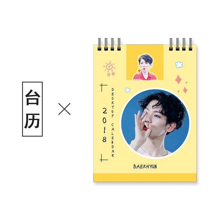 KPOP 2018 new baekhyun Around Taekbo Hyun exo Kobayashi Desktop Small Desk Calendar 2018 Calendar Photo New Photo