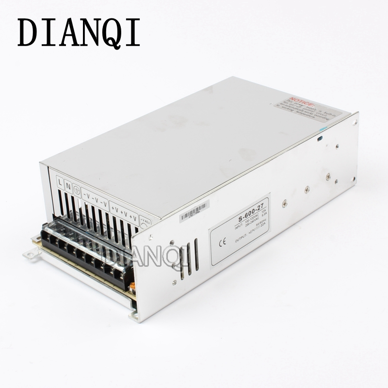 DIANQI switching power supply 22A power suply 27v 600w ac to dc Input 220v power supply ac dc converter  high quality S-600-27 meanwell 12v 350w ul certificated nes series switching power supply 85 264v ac to 12v dc