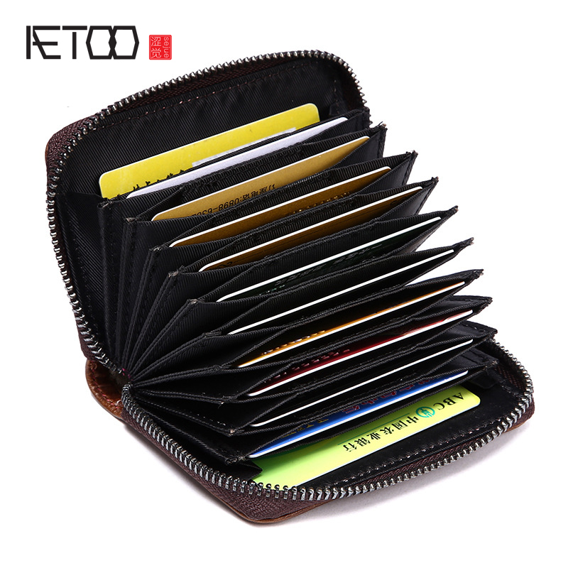 AETOO Genuine Leather Bag Enclosure Card Pack Sweater Card Bag Multi Card Head Layer Leather Coin Purse