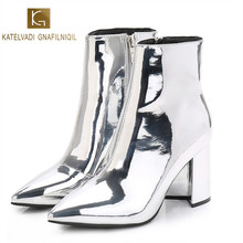 KATELVADI Winter Boots Women Silver PU Leather With Short Plush Warm Sexy Fashion Ladies Boots 8.5CM Block Heels K-471 fashion women s pumps with pu leather and color block design