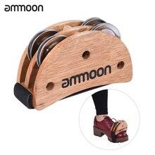 ammoon Foot Jingle Tambourine Burlywood Elliptical Cajon Box