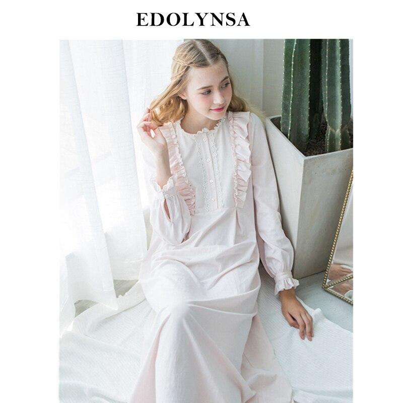 fba786288269d Для женщин платья Принцесса хлопок длинные ночные сорочки кружева Винтаж  романтическая Пижама Белый Sweet Home платье плюс Размеры рубашки # L24 купить  на ...
