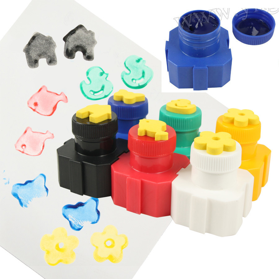 Craft toys for kids - 6pcs Lot Eva Foam Stamper With Paint 6 Color Poster Paint Craft Stamp Interlocking Early Educational Toys Kids Toy Art Hobby