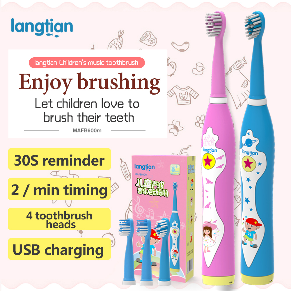 LANGTIAN Music Child Electric Toothbrush Dental Electric Cleaning Brush Kids Ultrasonic Rechargeable Toothbrush Baby Sonic Tooth ckeyin cartoon dolphin children music electric toothbrush led tooth brush 22000 min kids sonic toothbrush electric 3 brush heads