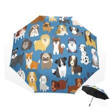 При сильном ветре животных собаки картины маслом Семья Для женщин 3-складной зонт от солнца и зонты неавтоматический