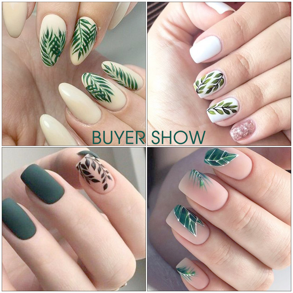 Image 5 - 29Sheets Tropical Leaves Nail Water Decals Botanical Leaf Nail Stickers Butterfly Flowers Nail Art Transfer Sticker Decals-in Stickers & Decals from Beauty & Health
