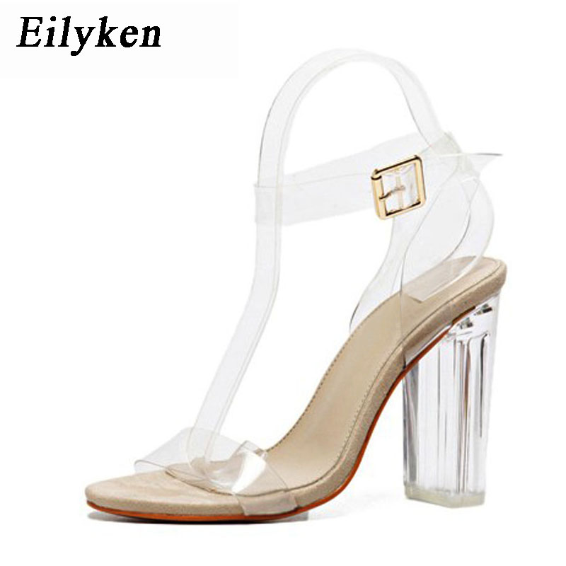 Eilyken Women Sandals Sexy PVC Transparent Ankle Strap High Heels Party Sandals  Women Buckle Strap Jelly Shoes Size 35-41 42e6dc58ce6a