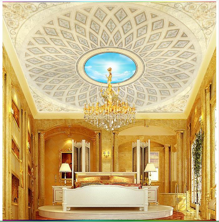 Luxury European Ceiling For Modern Home: Customized 3d Ceiling Murals Wallpaper European Luxury