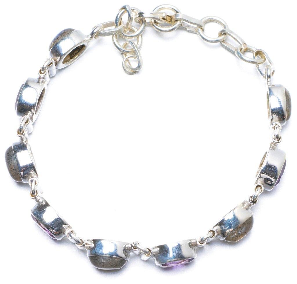 Natural Labradorite and Amethyst Handmade Unique 925 Sterling Silver Bracelet 6 3/4-7 1/4