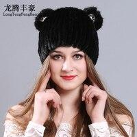 100% Genuína Gorro De Pele de Malha Chapéu de pele com orelhas de Gato cap para menina gorros de lã de Tricô de pele de vison fêmea chapéu mulheres tampas de inverno quente