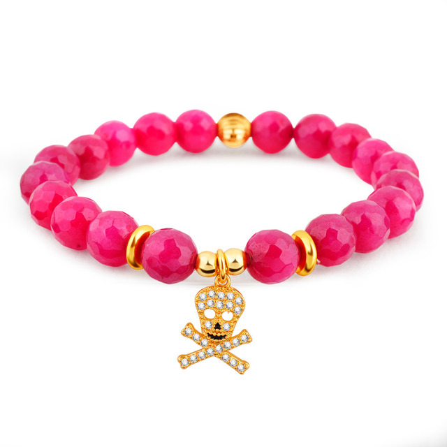 High Quality Red Coral Stone Beaded Bracelet Gold-Plated Copper Crystal Skull Jewelry Natural Stone Charm Bracelet For Women