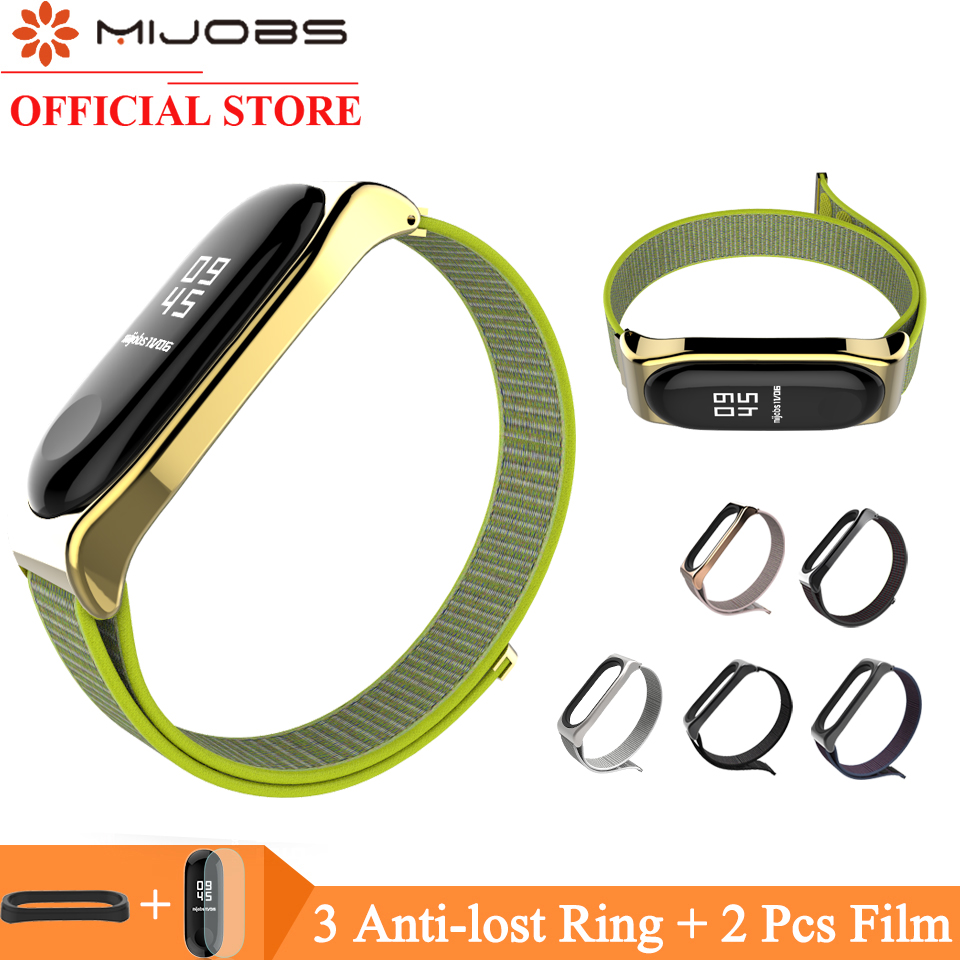 Mijobs Nylon Wrist Strap For Xiaomi Mi Band 4 3 Bracelet Replacement Watchband Smart Watch Band For Xiaomi Miband 3 Accessories