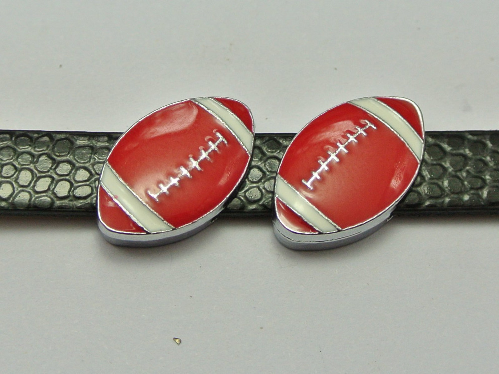 10 Alloy Enamel American Football Slide Charms Fit 8mm Wristband Belt Pet Collar in Beads from Jewelry Accessories