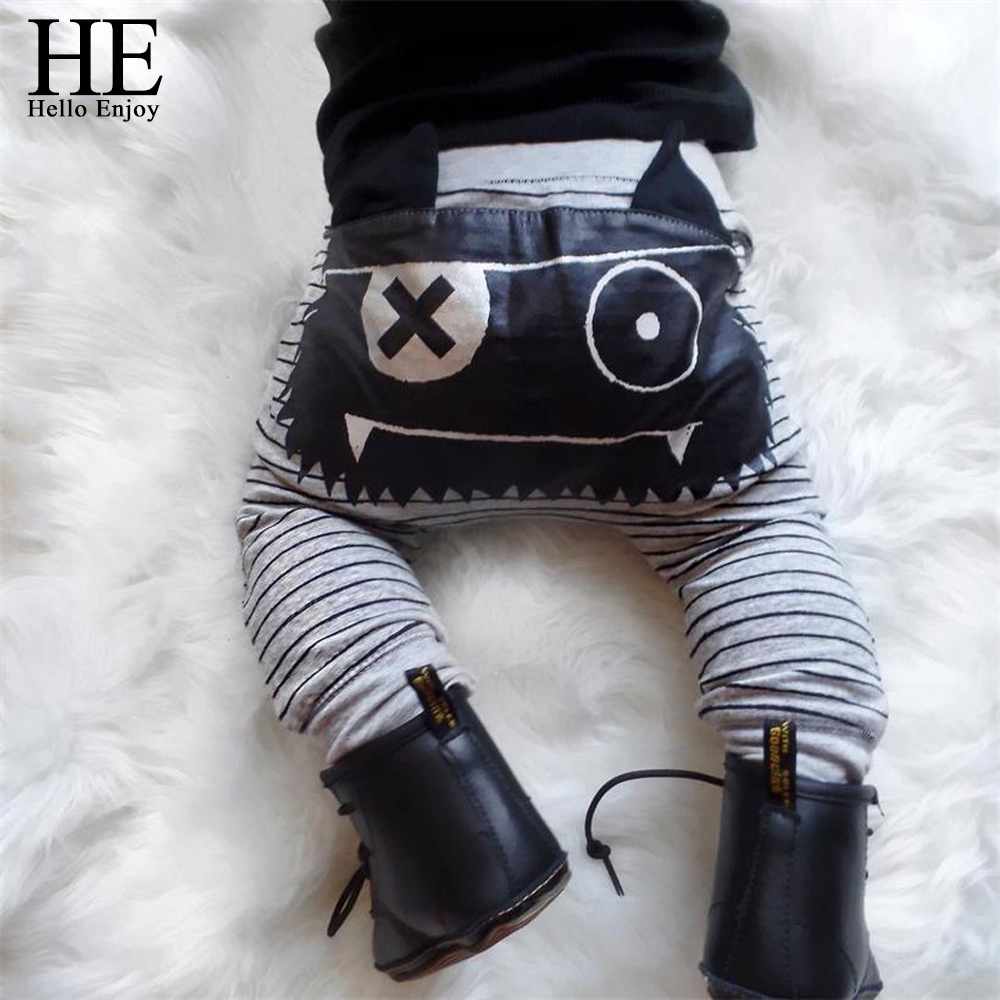 Baby Pants Leggings Trousers Newborn Clothing Print-Bottom Cartoon Hello Monster Striped