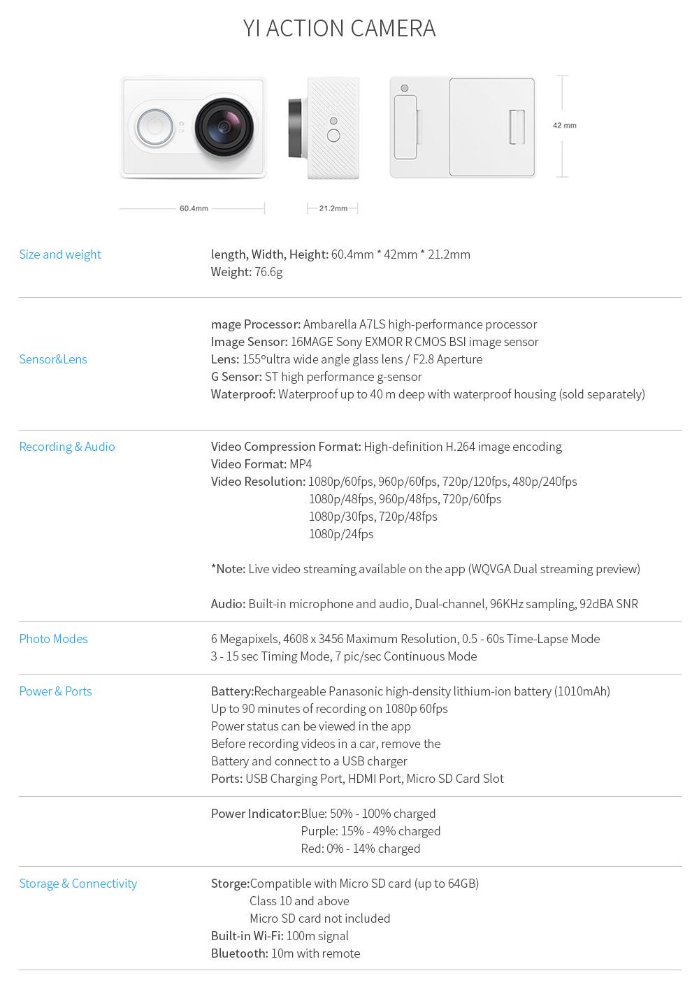 YI Action Camera 1080P Lime Green White Black 16MP Full HD 155 degree Ultra-wide Angle Sports Mini Camera 11