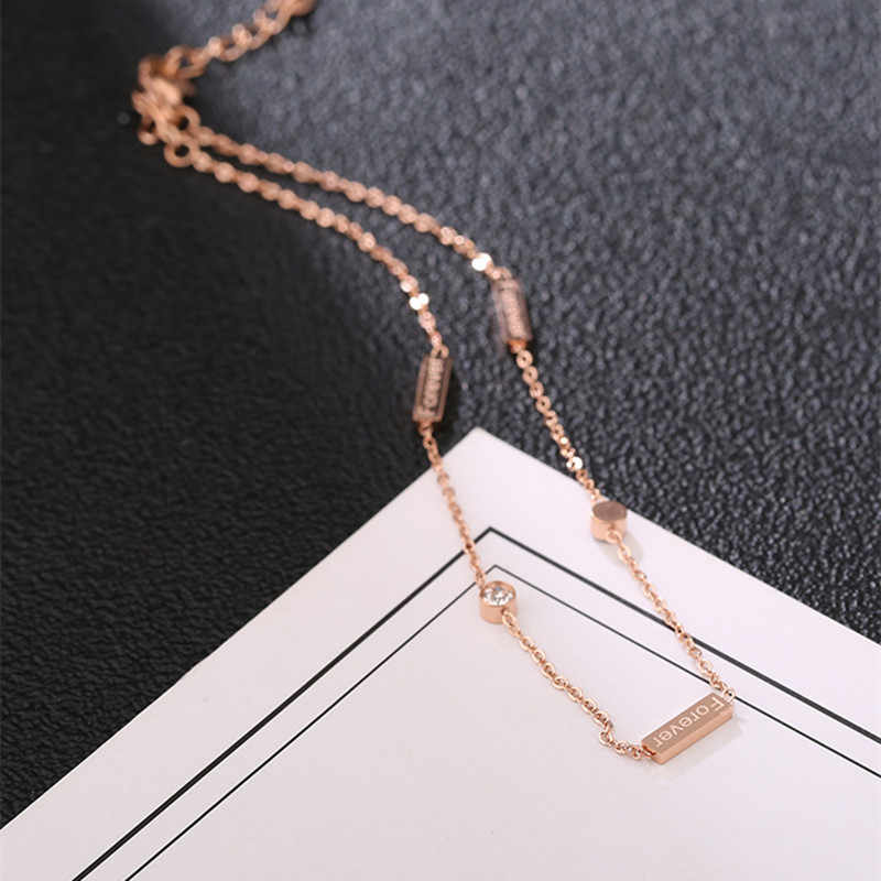 Delicate Summer Women Beach Jewelry Forever Letters Tag Geometric Bar Ankle With Crystal Charms Rose Gold Color Chain Anklets