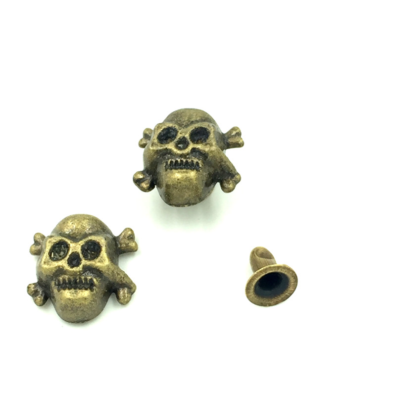 500Sets Wholesale Halloween Punk Bone Skull Skeleton Studs Spots Garment Rivets Spike Bronze Tone 12x12mm in Garment Rivets from Home Garden