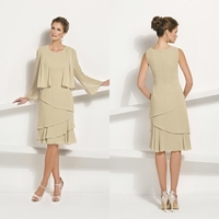 O Neck Tiered Chiffon Knee Length 2015 Mother Of The Bride Dresses With Jacket Plus Size