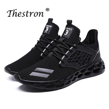 Thestron Man Running Sneakers Spring Autumn Mens Trainers Shoes Breathable Sport For Men Black Gray Jogging Male