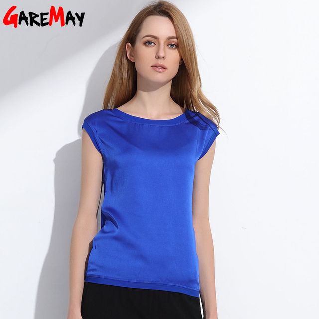Verão mulheres t camisa de seda Chinesa 2019 tops tees roupas femininas chiffon o-pescoço moda T-shirt de manga curta das mulheres 048