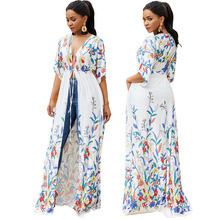 Floral Print Belted Maxi Wrap Dress V Neck Fit and Flare A Line Lace up Dress 2019 Women Summer Beach Sun Protect Boho Dresses недорого