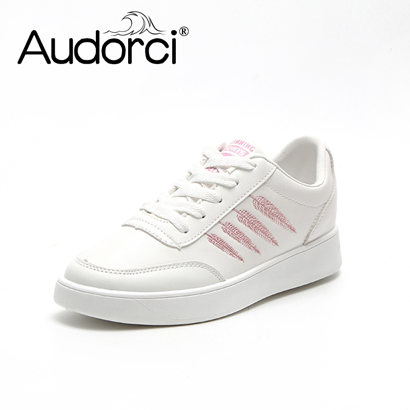 Audorci 2018 Spring Fashion Women White Board Shoes Tenis Feminino Casual Shoe Woman Lace-Up Walking Flats 4 Colors Size 35-40