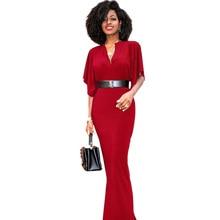 7b968f2139e Plus la taille 2017 Maxi Longue Bandage tunique robe D été automne rouge  vert noir À Volants Sexy robe-Parole Longueur Femmes ro.