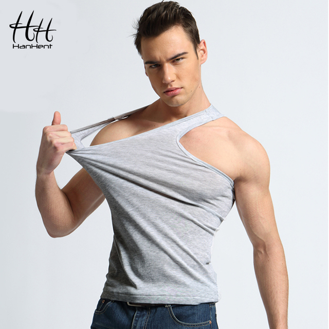 HanHent Men's Fashion Cotton Tank Tops Solid Color Bodybuilding Vest Bottoming Top Men Summer Casual Fitness Sleeveless Vest