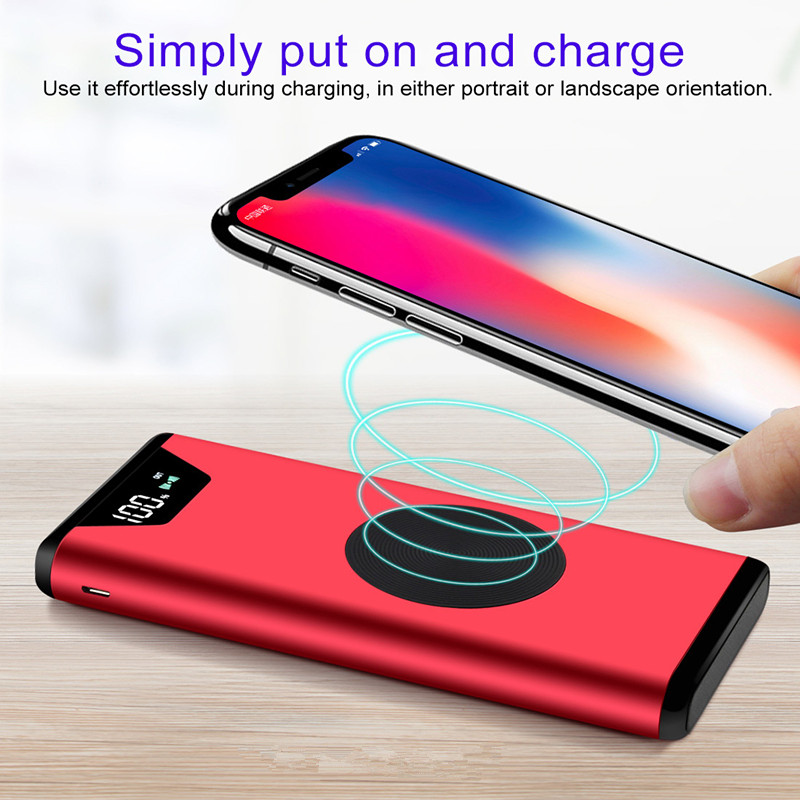 20000mah for iphone X 8 QI Wireless Charger Power Bank Dual USB with Digital Display External Battery Powerbank for Samsung