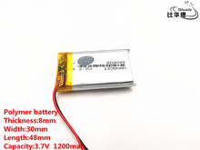 2pcs/lot Good Qulity 3.7V,1200mAH,803048 Polymer lithium ion / Li ion battery for TOY,POWER BANK,GPS,mp3,mp4