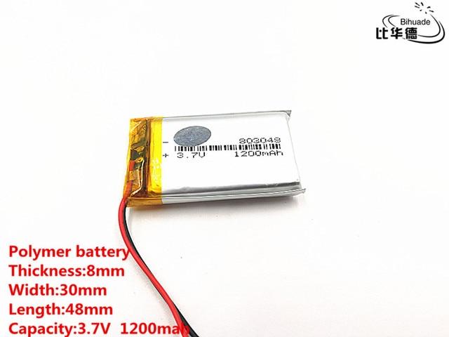 2pcs/lot Good Qulity 3.7V,1200mAH,803048 Polymer lithium ion / Li ion battery for TOY,POWER BANK,GPS,mp3,mp4