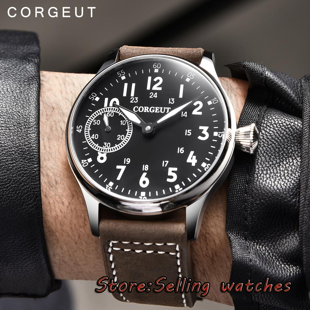 44mm Corgeut black dial Stainless steel Case 17 jewels 6497 hand winding movement Men s Watch