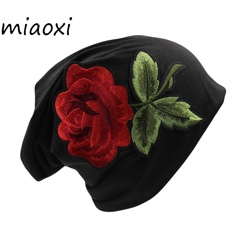 [miaoxi] Sale Women Floral Cap Rose Beanies Autumn Spring Girls Beauty Bonnet Fashion Cotton Adult Hat Fur 5 Colors White Bonnet