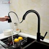 Black Hose Kitchen Faucets Brass Black Pull Out Bathroom Faucet Swivel Single Handle Single Hole Sink Taps Hot Cold Deck Mount