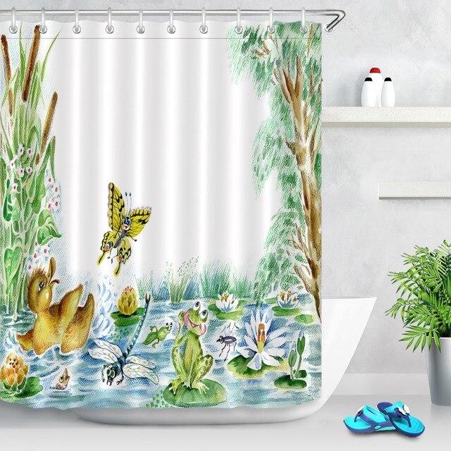72\'\' Bathroom Waterproof Fabric Shower Curtain Polyester 12 Hooks ...