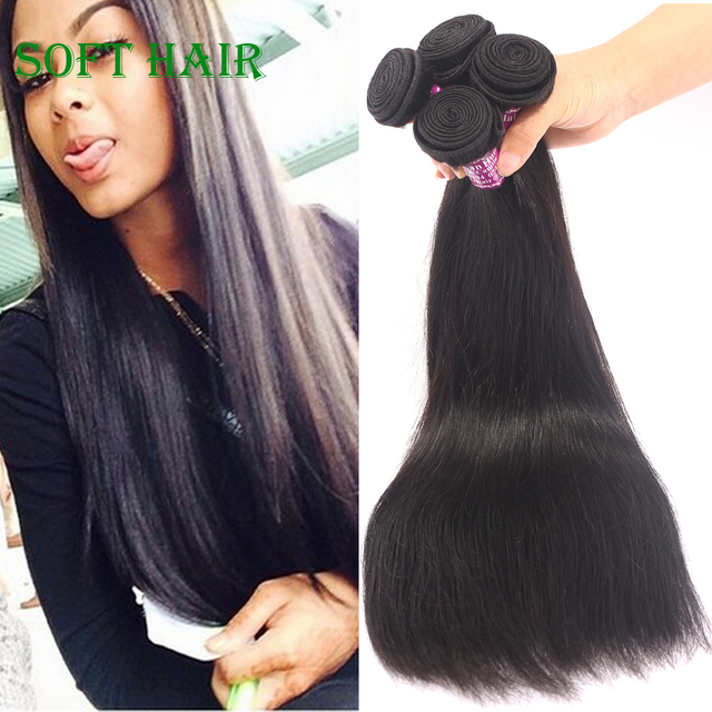 Brazilian Straight Hair 4 Bundles Deals Soft Virgin Hair Products