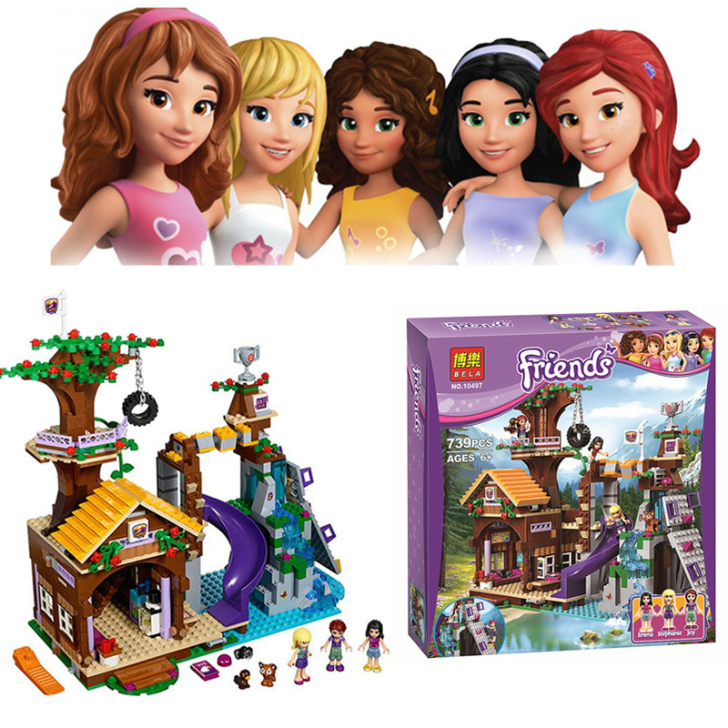 ФОТО 739 PCS Bela 10497 Girl Friends Adventure Camp Tree House Building Set  Learning Blocks Compatible 41122