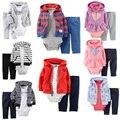 KidsTales bebé infantil de la ropa de algodón chaqueta de punto con capucha + pantalones + cuerpo 3 unids 2 unids niño niña ropa para niños ropa de bebé