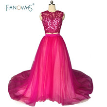 New Arrival 2019 Two Pieces Evening Dresses Long Tulle Applique Fuchsia Prom Dress Girl Sexy Evening Gown Vestidos Longos CR03